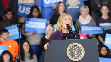 """Durham, NH: Maggie Hassan addresses the crowd at the """"Get Out The Vote"""" event organised by the Clinton Campaign in New Hampshire. Photo by Vaishnavee Sharma/ BU News Service."""