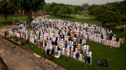 Indian Muslims offer Eid al-Fitr prayers at the 14th century Feroz Shah Kotla Jami Mosque in New Delhi, India, Monday, June 26, 2017. Eid al-Fitr marks the end of the Muslims' holy fasting month of Ramadan. (AP Photo/Vaishnavee Sharma)